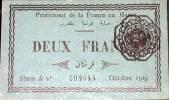 Billete de dos francos del protectorado francés de Marruecos. 1919. Ampliar imagen